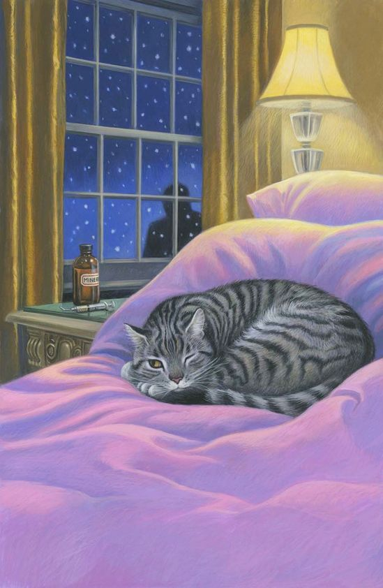 THIS DEPICTS THE MEANING OF CATS SLEEPING WITH ONE EYE OPEN.