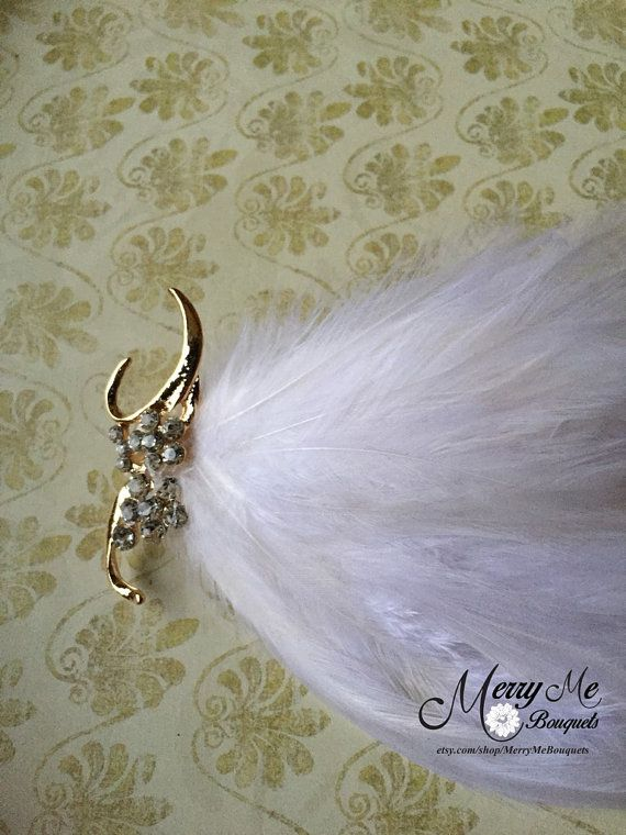 Sparkly Gold Hair Clip White Feather Hair Clip by MerryMeBouquets