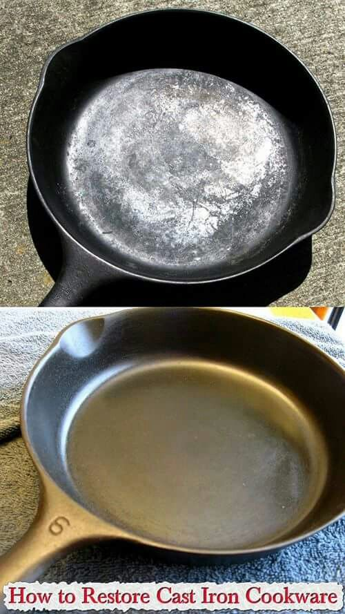 how to restore cast iron cook ware good to know pinterest skillets ware and irons. Black Bedroom Furniture Sets. Home Design Ideas