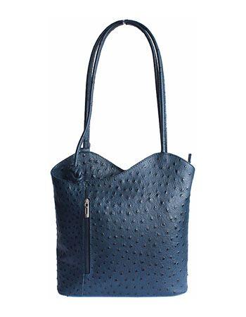 Multi-Way Dark Blue Ostrich Leather Shoulder Bag/Backpack