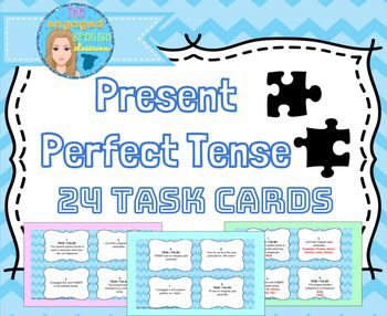 Spanish perfect tenses, Spanish present perfect tense, Present perfect indicative, Spanish Present Perfect Indicative Tense Task Cards, El Pretérito Perfecto, El presente perfecto Present Perfect Task Cards, set of 24 with answer key and student answer