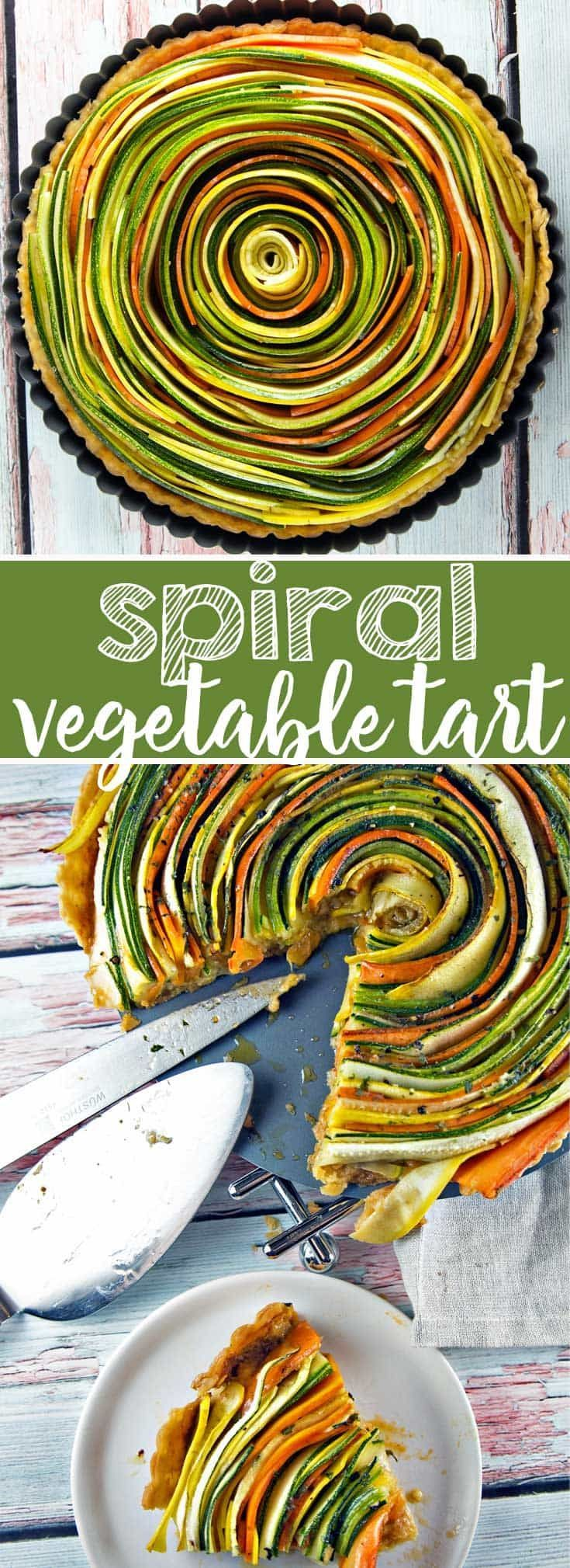 Spiral Vegetable Tart: Thinly sliced summer vegetables are the visual star of this spiral vegetable tart. Vegetarian | Vegan | Gluten Free {Bunsen Burner Bakery}