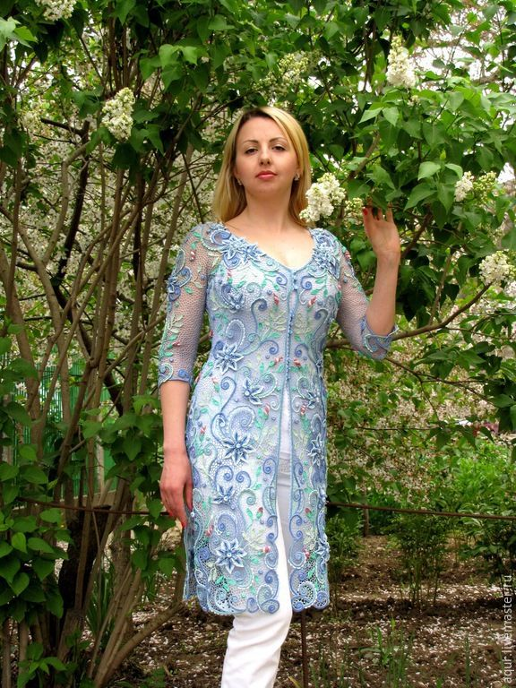 """Купить шазюбль """"Dolce primavera"""" - голубой, цветочный, вечерний наряд, Жилет женский, Платье нарядное"""