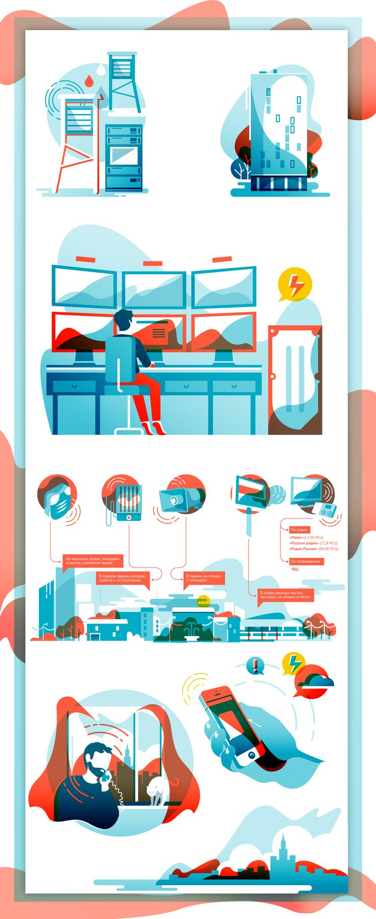 Illustrations for infographic on Behance