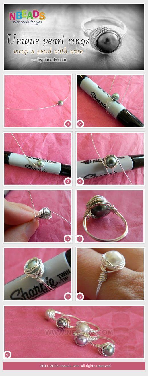 Unique Pearl Rings - Wrap A pearl with Wire by Amanda Wong | Project | Jewelry / Accessories | Kollabora Schmuck im Wert von mindestens   g e s c h e n k t  !! Silandu.de besuchen und Gutscheincode eingeben: HTTKQJNQ-2016                                                                                                                                                                                 Mehr