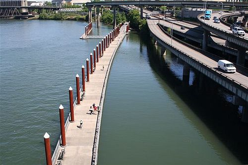 Floating bike trail in Portland. With benches, for relaxing and taking in the view.