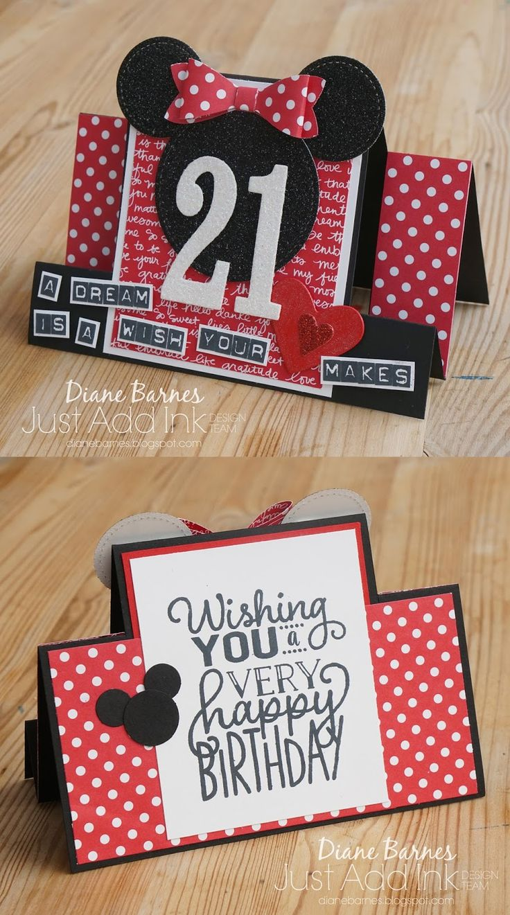 handmade Disney Minnie Mouse themed 21st centre step birthday card using Stampin Up Labeler alphabet, Stitched Shapes dies, Large Numbers dies. Full supply list & pdf tutorial link to make centre step card on blog post. Card by Di Barnes #colourmehappy 2017-18 Annual catalogue