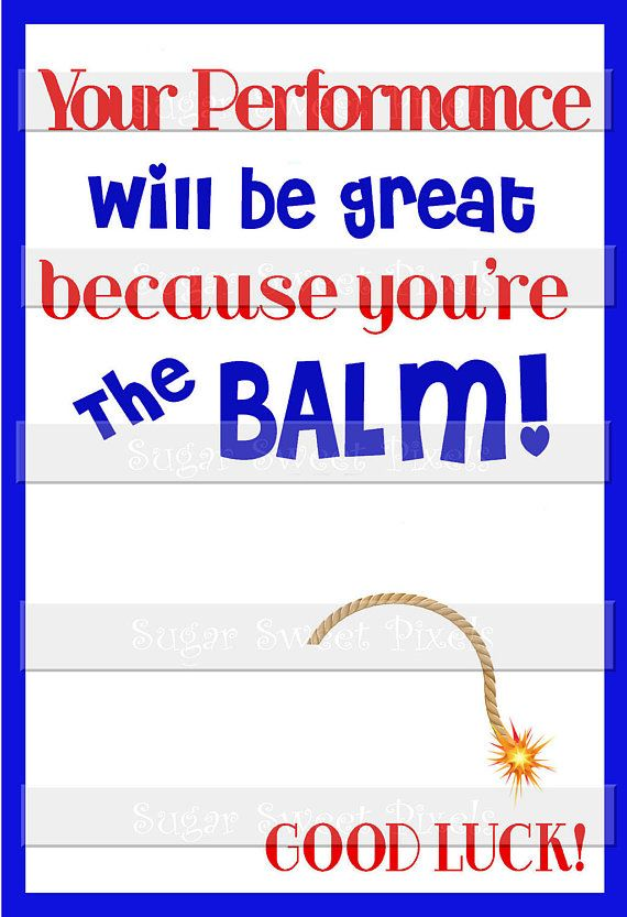 Digital Performance Good Luck Card for Lip balm This listing is for a PRINTABLE JPG Gift Card . This JPG Card measures 4x6 . It is made to printed individually on 4x6 paper and for you to glue your Own Lip Balm onto it. I recommend using Cardstock. If you prefer a border less look as