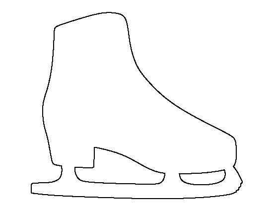 Ice skate pattern. Use the printable outline for crafts, creating stencils, scrapbooking, and more. Free PDF template to download and print at http://patternuniverse.com/download/ice-skate-pattern/
