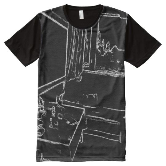 black and white drawing resting room All-Over print T-Shirt A photo with black and white drawing effect on of a resting room with a sofa, a table with different stuff on it. you can see the nature out of the window.