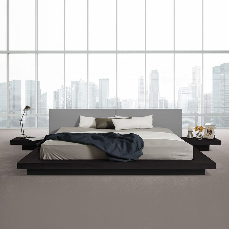 the modrest opal modern low profile black oak and grey leatherette platform bed is an extended frame made from mdf with black oak veneer finish