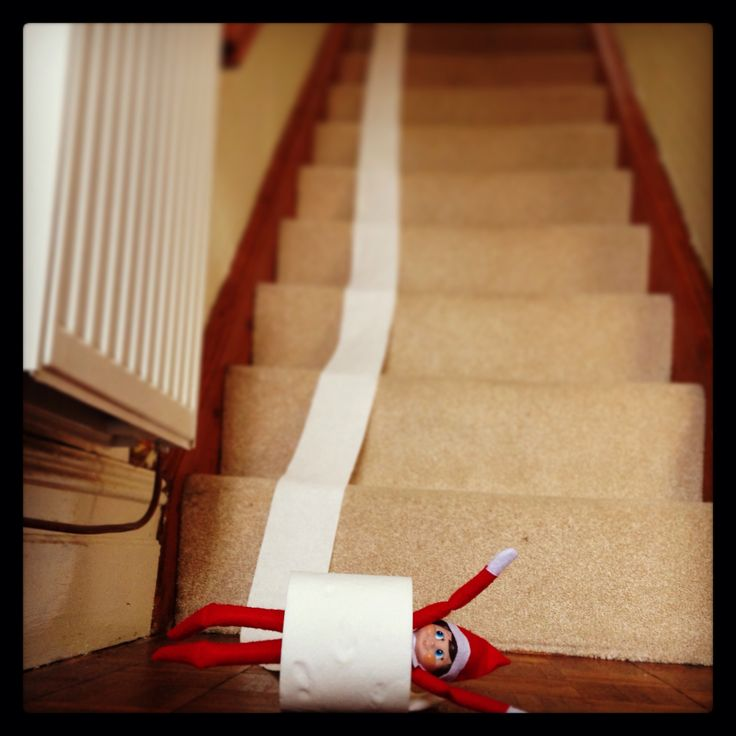 Day 13. Elf on the shelf. Clive is back to he's mischievous self. Such fun with a roll of toilet paper. #elfontheshelf #toiletrollfun