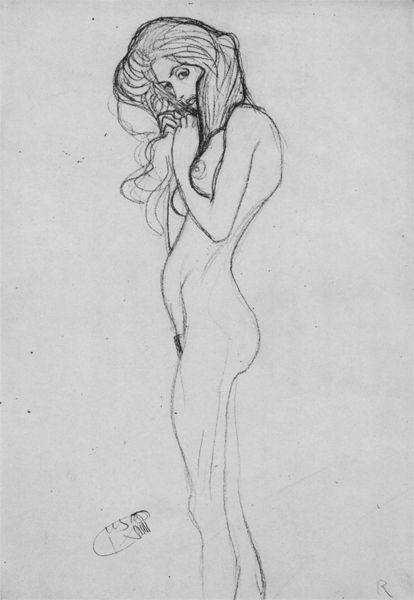 "Study for the left of the ""Three Gorgons"" in the Beethoven Frieze   The Beethoven Frieze is a painting by Gustav Klimt. 1902"