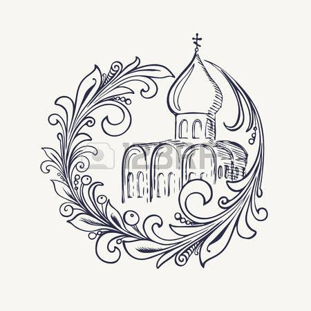Stylized drawing of the church and Khokhloma branch. Vector illustration. Eps-8