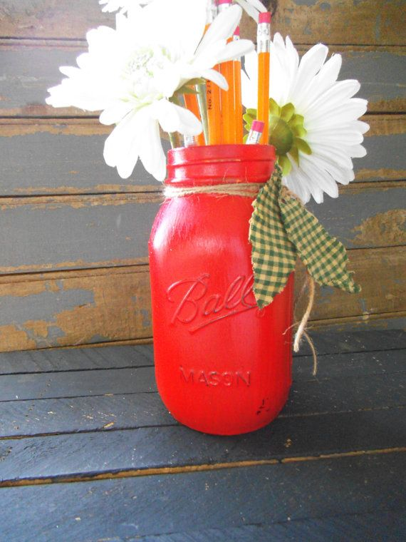 Distressed Mason Jar Apple Mason JarTeacher Gift by RagsandBerries