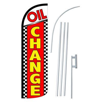 NeoPlex Oil Change Checker Swooper Flag and Flagpole Set