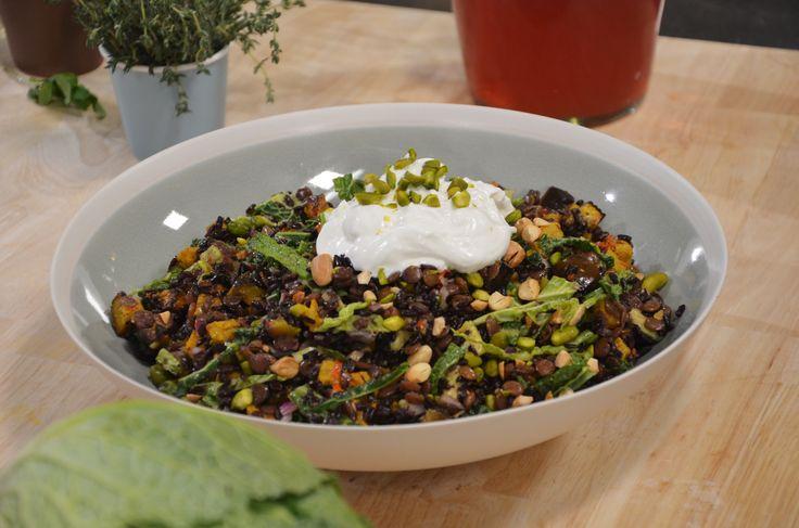 Zwarte rijst, cavolo nero en aubergine pilav - recept   24Kitchen