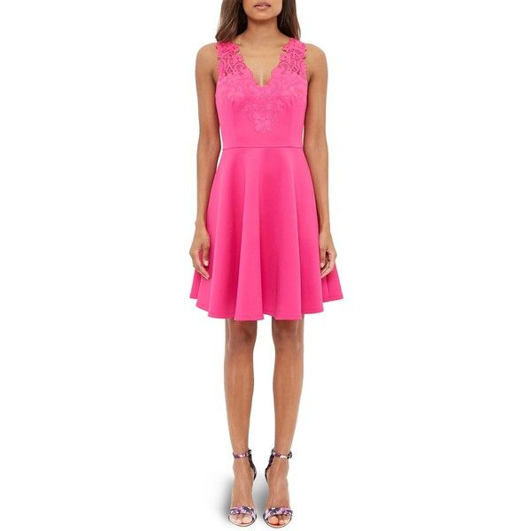 Ted Baker Taliia Embroidered Skater Dress ($295) ❤ liked on Polyvore featuring dresses, fuschia, pink dress, floral dresses, skater dress, party dresses and ted baker dresses