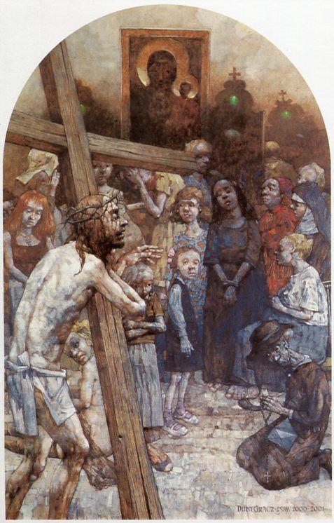 VIII  Estación. Cristo consuela a las mujeres. Gólgota de Jasna Góra, del pintor polaco Jerzy Duda Gracz