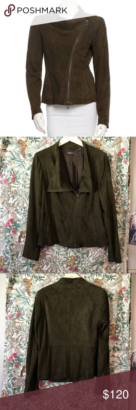 Vince Suede Olive Green Leather Jacket Vince Suede Olive Green Leather Jacket. Size Large. The only flaw, is a rip on the inside lining that doesn't affect, or show on the outside at all! Picture listed. Vince Jackets & Coats