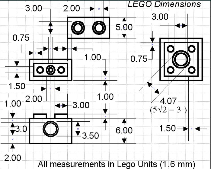 1x2x1 and 2x2x1 lego dimensions