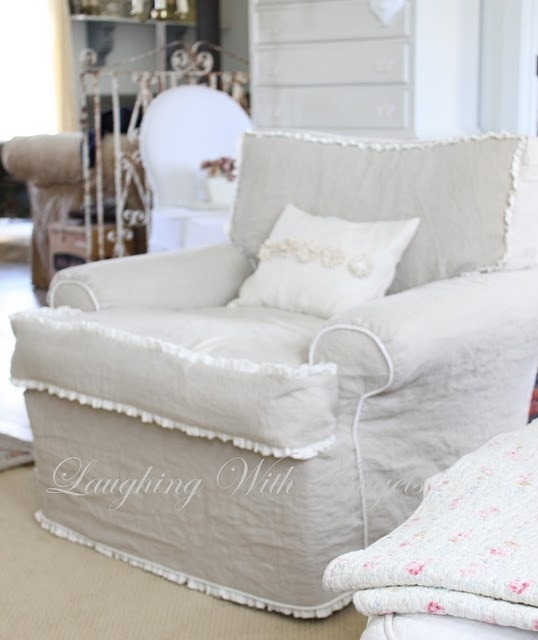 linenruffle slipcover with down cushion seat