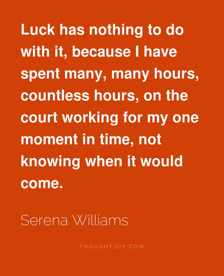 """""""Luck has nothing to do with it, because I have spent many, many hours, countless hours, on the court working for my one moment in time, not knowing when it would come.""""  ― Serena Williams"""