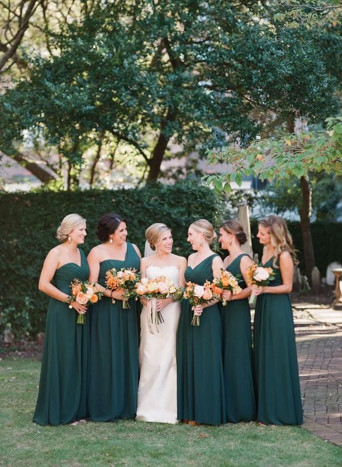 Hunter Green Bridemaids Dresses Forest Emerald Chiffon Floor Length Long Wedding Colors Glamorous Greenery