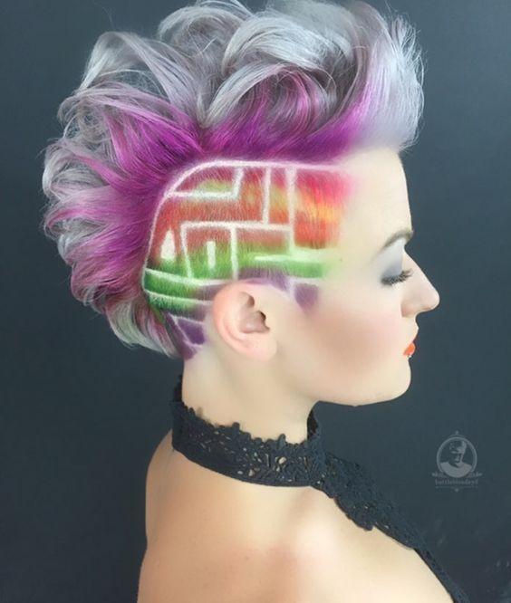 Schon Das Neueste Gehort Kurze Haare Mit Rainbow Roots Damen