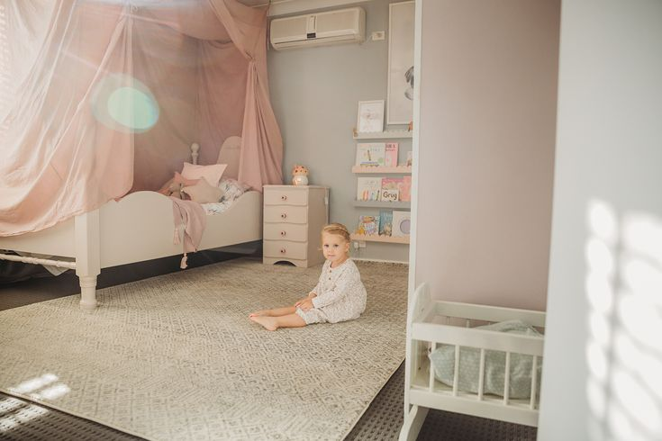 """Gorgeous room by https://buff.ly/2FGuT68  So much work has gone into this room, well done! 😍🙌🏻 Rug featured is our Dacca Transitional Grey Beige Designer Rug in size 290 x 200cm. https://buff.ly/2FPbXW9 ... """"My baby has grown up and now has her very own big girl room. Her bed has been lovingly handmade by her daddy and all the furniture was families that we repainted. It took forever to make this happen but I think it's safe to say that she loves it. Mummy may of shed a tear or two…"""