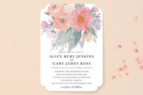 """""""fresh watercolor floral"""" - Floral & Botanical, Hand Drawn Wedding Invitations in Peach by Qing Ji."""