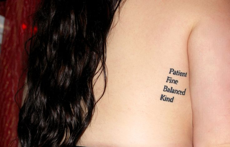Patient, Fine, Balanced, Kind. Skinny love by Bon Iver. By Matt at 2SpiritTattoo in San Francisco.