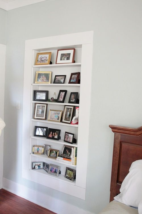 Built in wall shelf between studs (inspiration pic only, no tutorial)