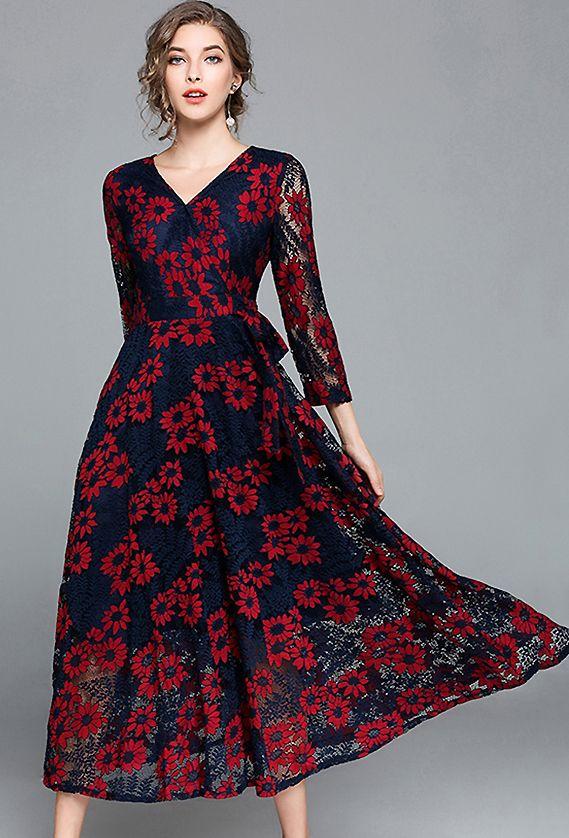 Elegant V Neck Long Sleeve Lace Skater Dress Design