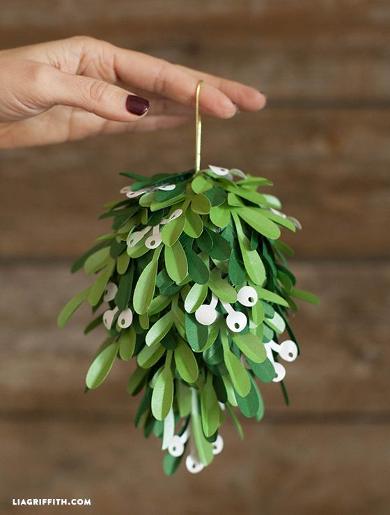 Though I think the mistletoe would look great with a small bundle of sprigs and tied with a red ribbon, this kissing ball makes quite the statement and is perfect for your holiday party or larger gatherings.