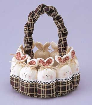 bunny basket      I don't like the fabric colors for the basket & rabbit ears... but I could choose a different fabric