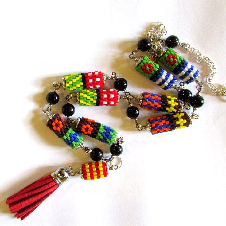 Hundertwasser style necklace by ClaraBijous on Etsy