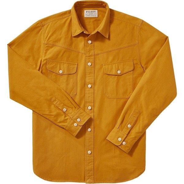 Filson Yukon Chamois Shirt (1,535 MXN) ❤ liked on Polyvore featuring men's fashion, men's clothing, men's shirts, men's casual shirts, mens casual button down shirts, mens button shirts, mens shirts and mens french cuff shirts