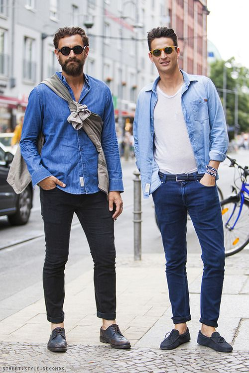 デニムシャツコーデメンズcasual chambray & denim :: #menswear #style #denim