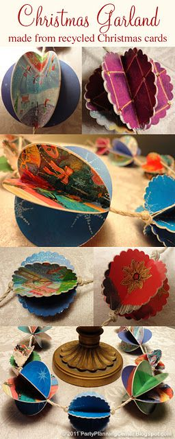 how to make Christmas decorations from recycled Christmas cards...for all those cards!