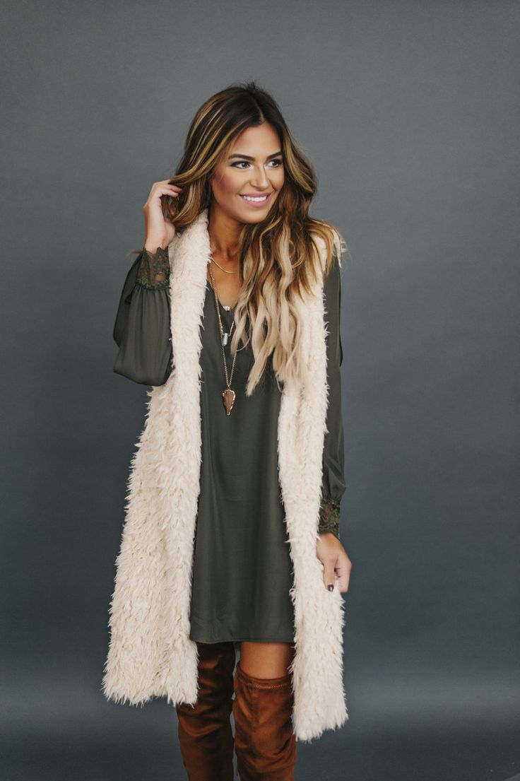 Cream Long Faux Fur Vest - Dottie Couture Boutique