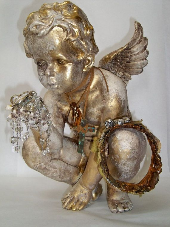 Cherub statue with crown hand painted and by AnitaSperoDesign, $260.00