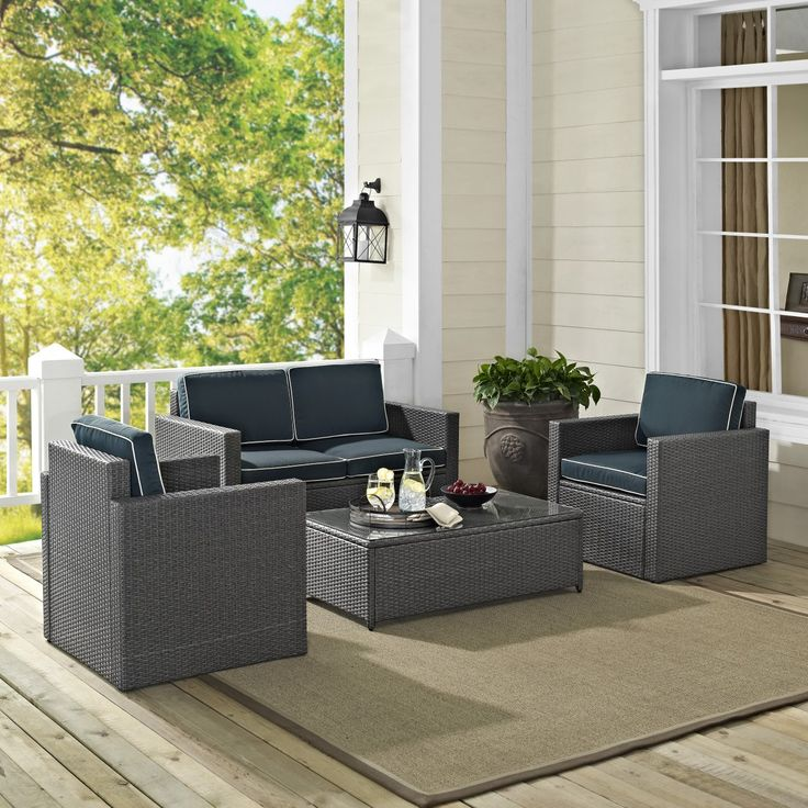 Palm Harbor 4PC Outdoor Grey Wicker Seating Set from Crosley - 17 Best Images About Discounted Wicker Patio Furniture From Home