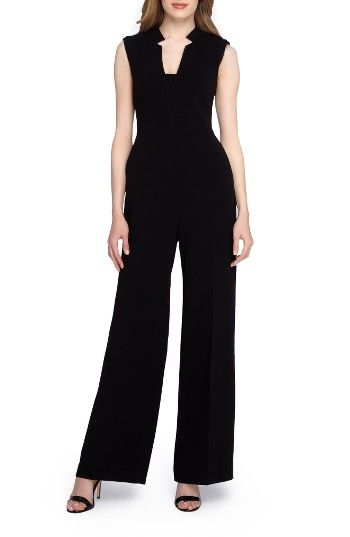 Free shipping and returns on Tahari Crepe Jumpsuit (Petite) at Nordstrom.com. Flattering front pleats add structure to a sophisticated black jumpsuit cut with a chic notched collar and wide-leg silhouette.