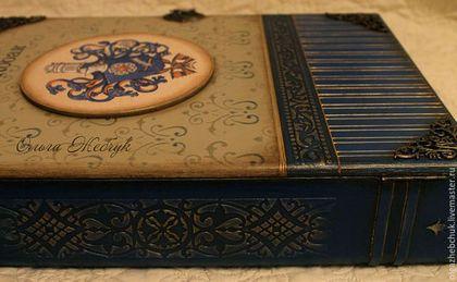 Купить Шкатулка-книга.Именная с личным гербом. - тёмно-синий, шкатулка-книга, книга-шкатулка
