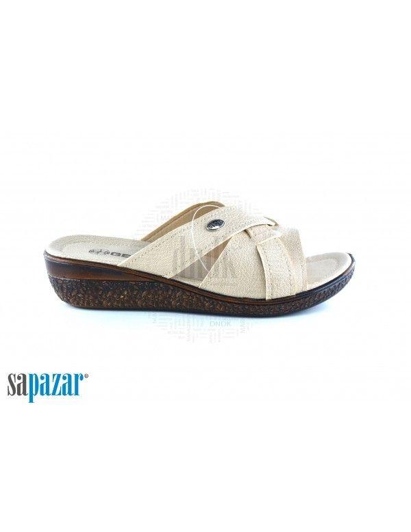 Gezer Bayan 8656 Zenne Kutulu Terlik Krem Terlik Sandalet