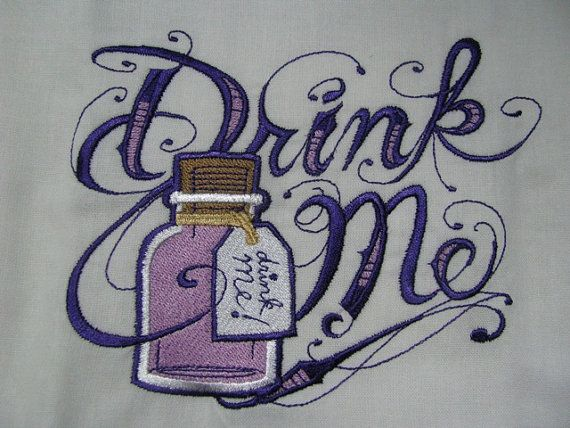 Drink Me Alice in Wonderland Embroidered by EmbroideryEverywhere, $13.99