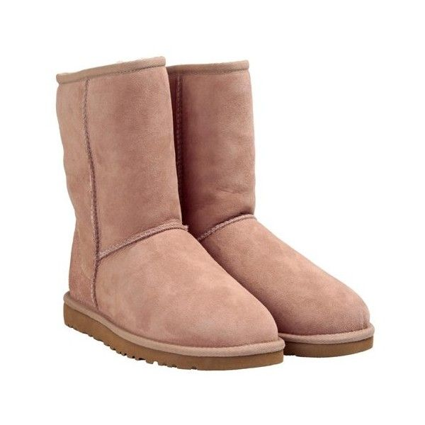 UGG AUSTRALIA Classic short shearling boot ($204) ❤ liked on Polyvore featuring shoes, boots, ankle booties, uggs, beige, short booties, shearling lined booties, ugg australia, short ankle booties and beige ankle booties