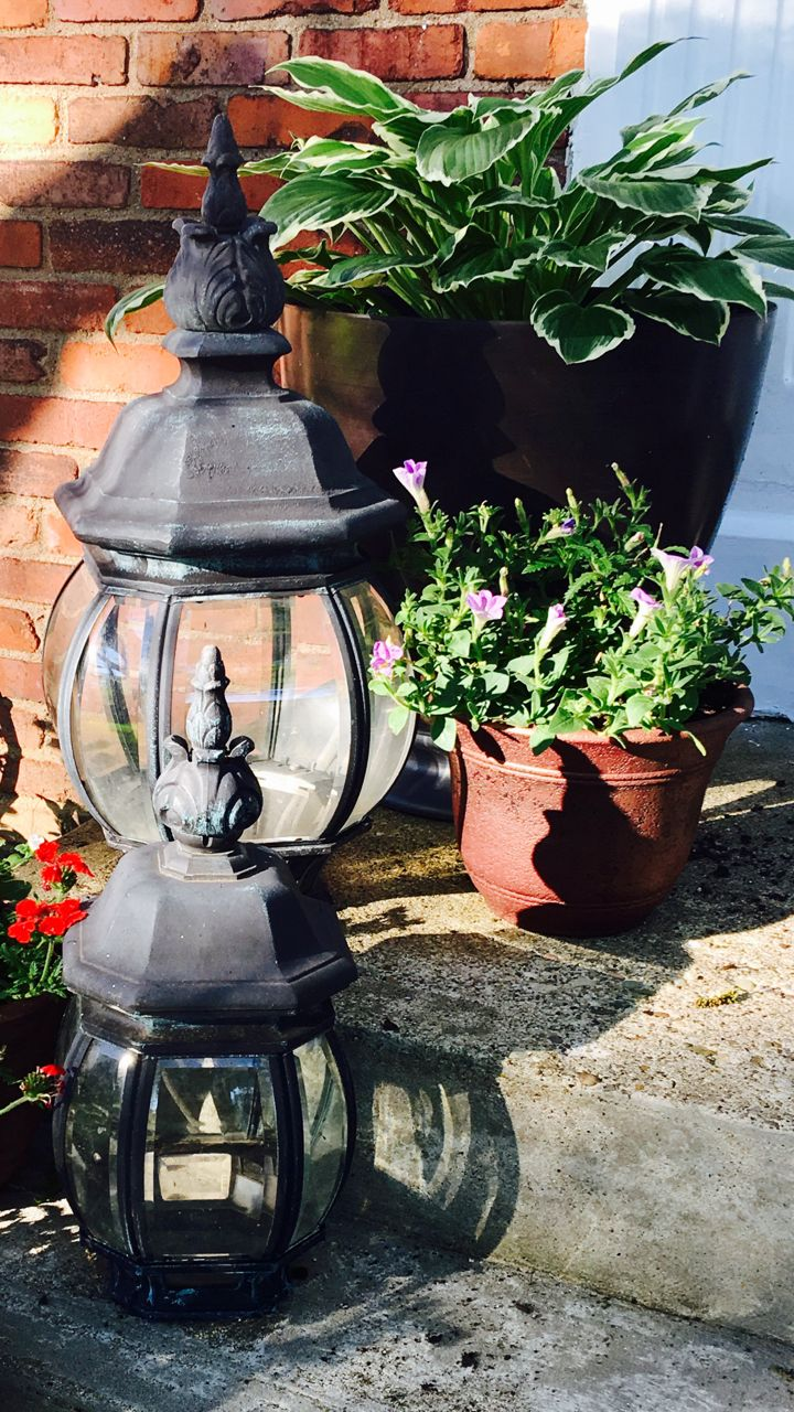 Streel light tops turned into hurricanes for outdoor candle lanterns
