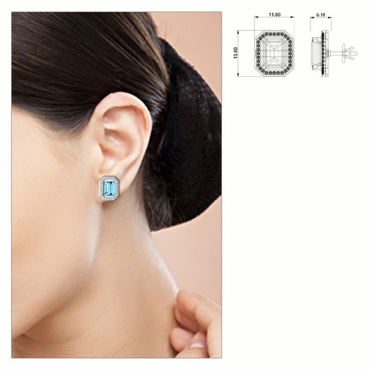 Ryba Diamond and Aquamarine Earring #BlueDiamond #Earring